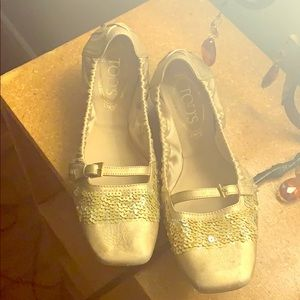 Authentic Tod's Gold Sequined Flats